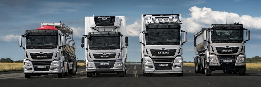 The new MAN trucks receive impressive innovations in both the exterior and interior, together with an even more efficient driveline. (From the left: TGS, TGM, TGX, and again the TGS) DE: Die neuen MAN erhalten ausdrucksstarke Neuerungen am Exterieur und Interieur sowie einen noch effizienteren Antriebsstrang.(von links: TGS, TGM, TGX und nochmals TGS) UK: The new MAN trucks receive impressive innovations in both the exterior and interior, together with an even more efficient driveline. (From the left: TGS, TGM, TGX, and again the TGS)