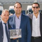 Da destra: Guido Grimaldi della Grimaldi Lines Napoli, Gaetano Nicolosi della Nicolosi Trasporti e Antonio Martino di MAN Truck & Bus Italia.