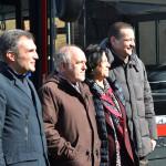 Da sinistra, l'Assessore alla mobilità Aldo Modonesi, il Sindaco di Ferrara Tiziano Tagliani, Giuseppina Gualtieri e Paolo Paolillo, rispettivamente Pre-sidente e Direttore generale di Tper Spa.