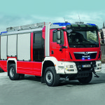 Rosenbauer introduced its first fire truck for the Euro 6 emission standard on an MAN TGM 18.340 chassis. DE: Die Firma Rosenbauer stellte das erste Loeschgruppenfahrzeug in der Eu-ro-6-Ausfuehrung auf einem MAN TGM 18.340 vor. UK: Rosenbauer introduced its first fire truck for the Euro 6 emission standard on an MAN TGM 18.340 chassis.